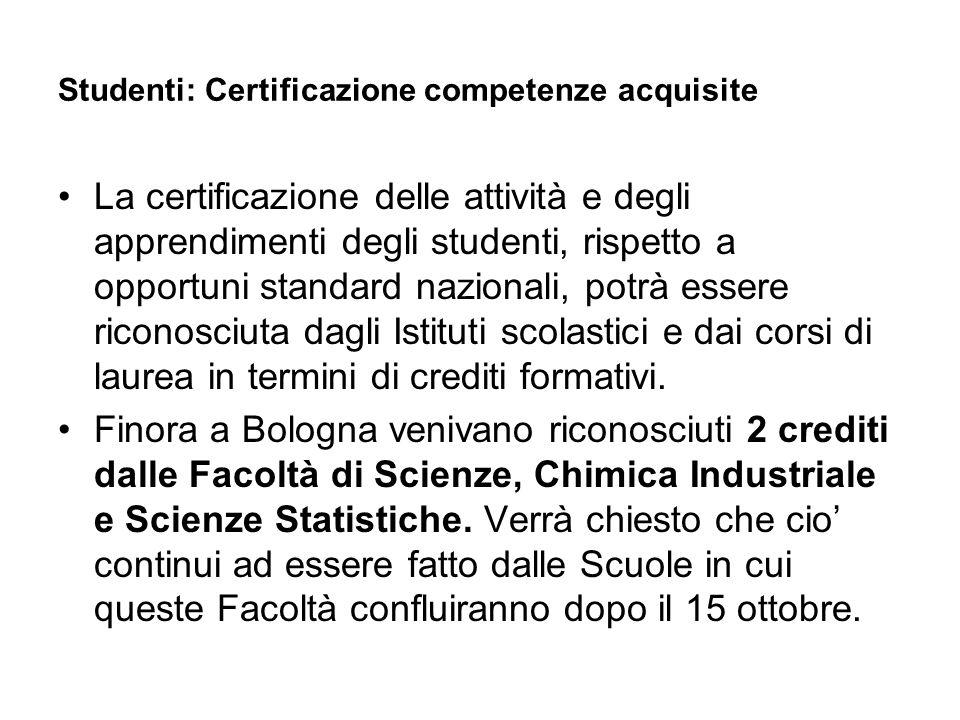 Studenti: Certificazione competenze acquisite