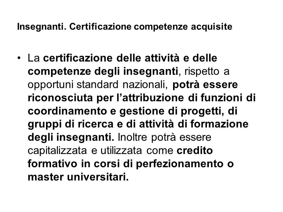 Insegnanti. Certificazione competenze acquisite