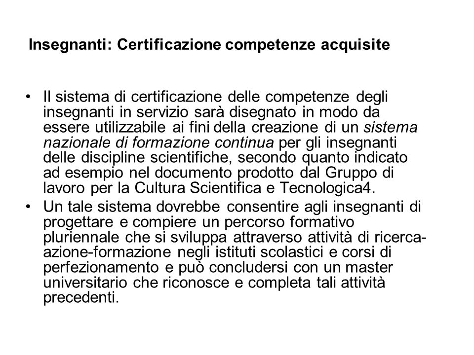 Insegnanti: Certificazione competenze acquisite