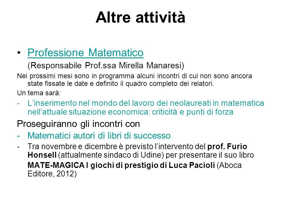 Altre attività Professione Matematico (Responsabile Prof.ssa Mirella Manaresi)