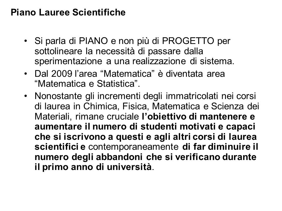 Piano Lauree Scientifiche