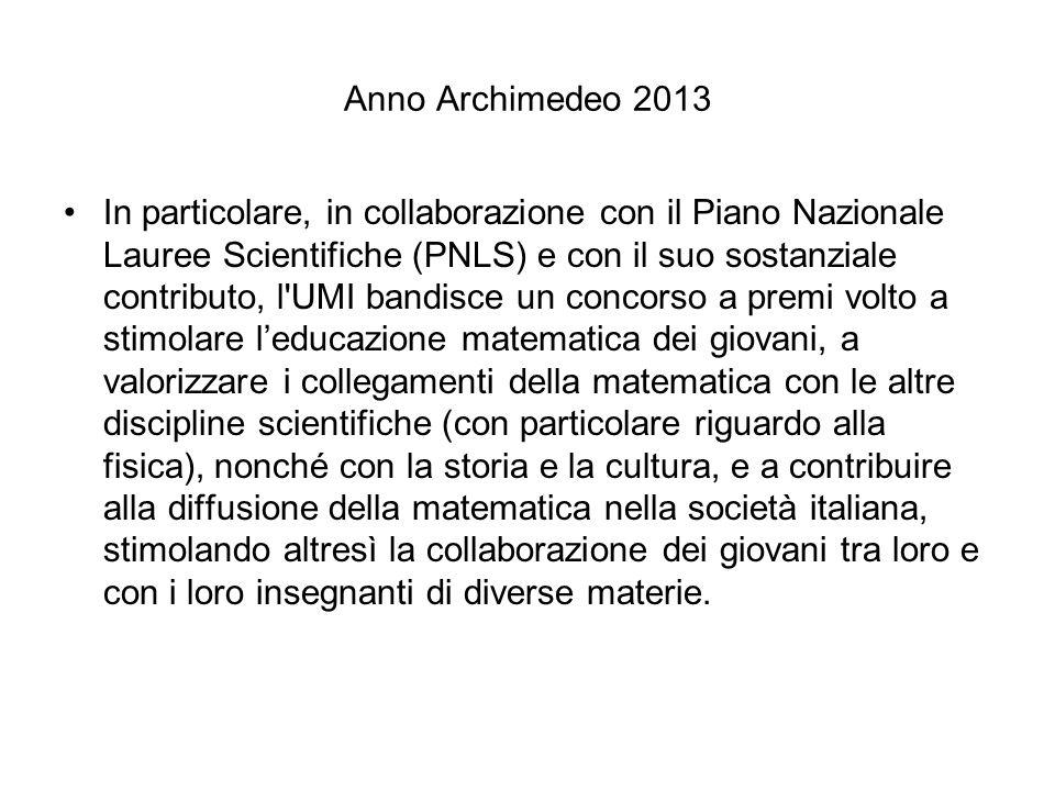 Anno Archimedeo 2013