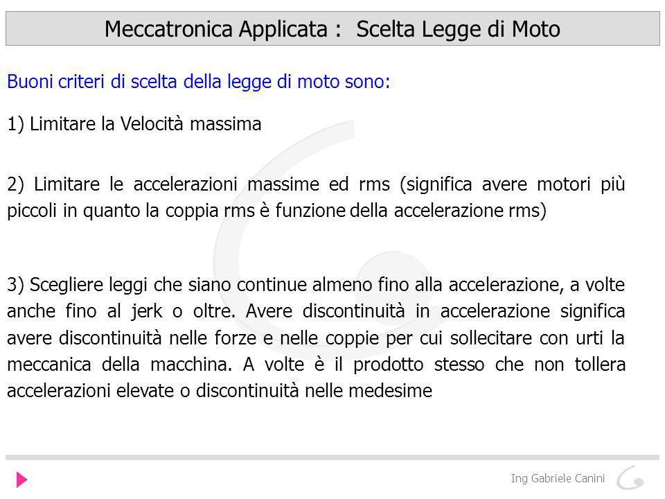 Meccatronica Applicata : Scelta Legge di Moto
