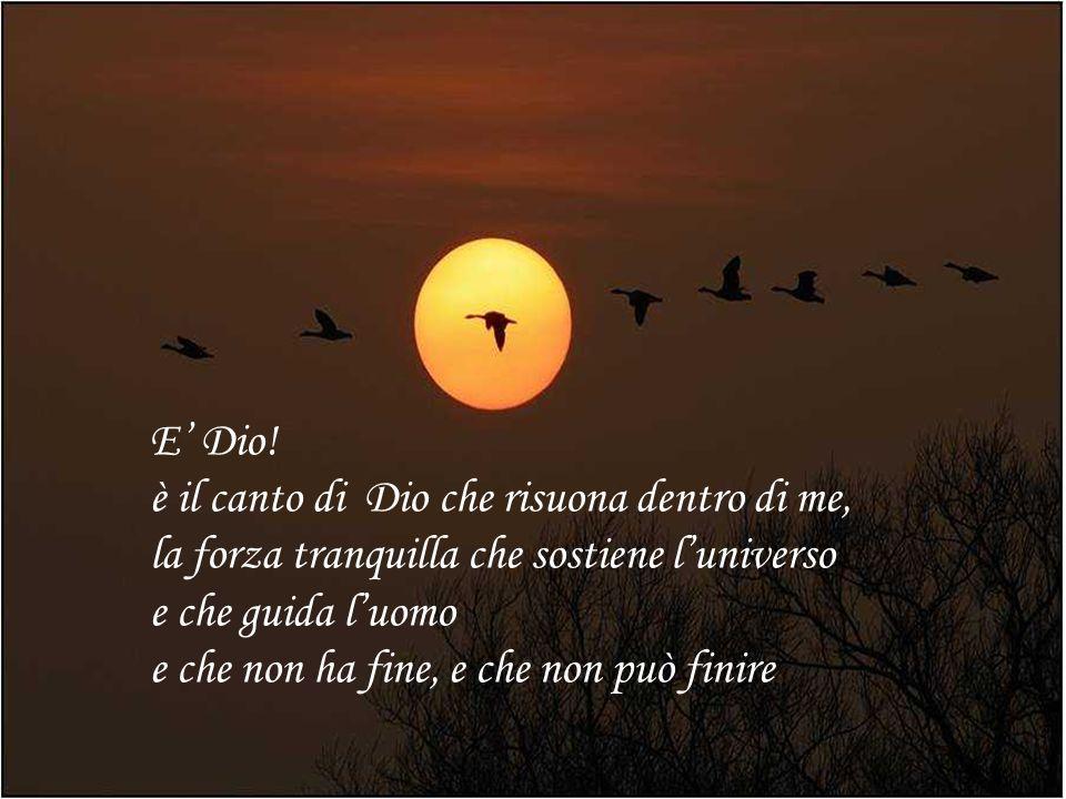E' Dio! è il canto di Dio che risuona dentro di me, la forza tranquilla che sostiene l'universo. e che guida l'uomo.
