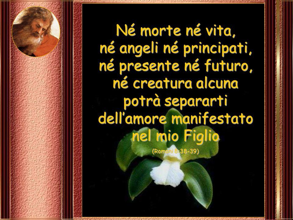Né morte né vita, né angeli né principati, né presente né futuro, né creatura alcuna potrà separarti dell'amore manifestato nel mio Figlio