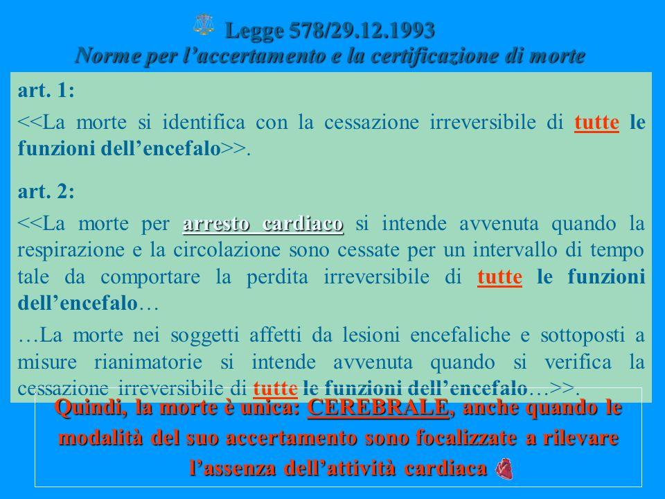Legge 578/29.12.1993 Norme per l'accertamento e la certificazione di morte