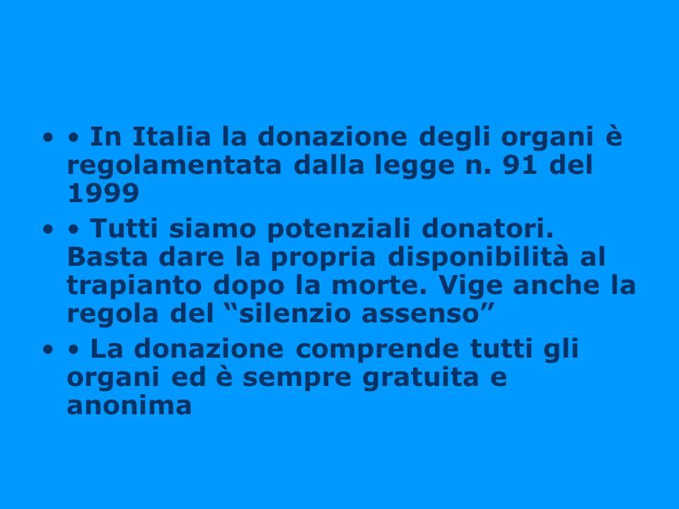 • In Italia la donazione degli organi è regolamentata dalla legge n