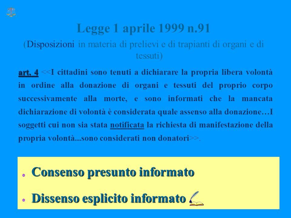 Consenso presunto informato Dissenso esplicito informato