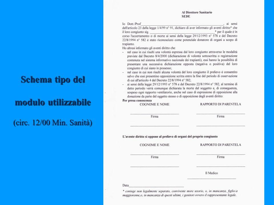 Schema tipo del modulo utilizzabile (circ. 12/00 Min. Sanità)