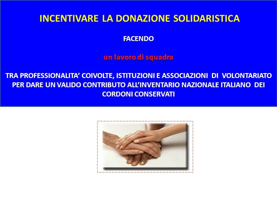 INCENTIVARE LA DONAZIONE SOLIDARISTICA