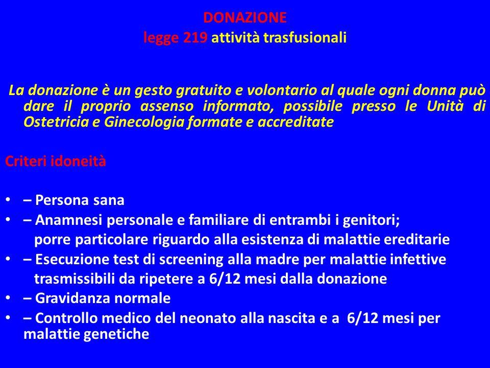 DONAZIONE legge 219 attività trasfusionali
