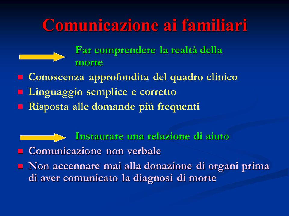 Comunicazione ai familiari