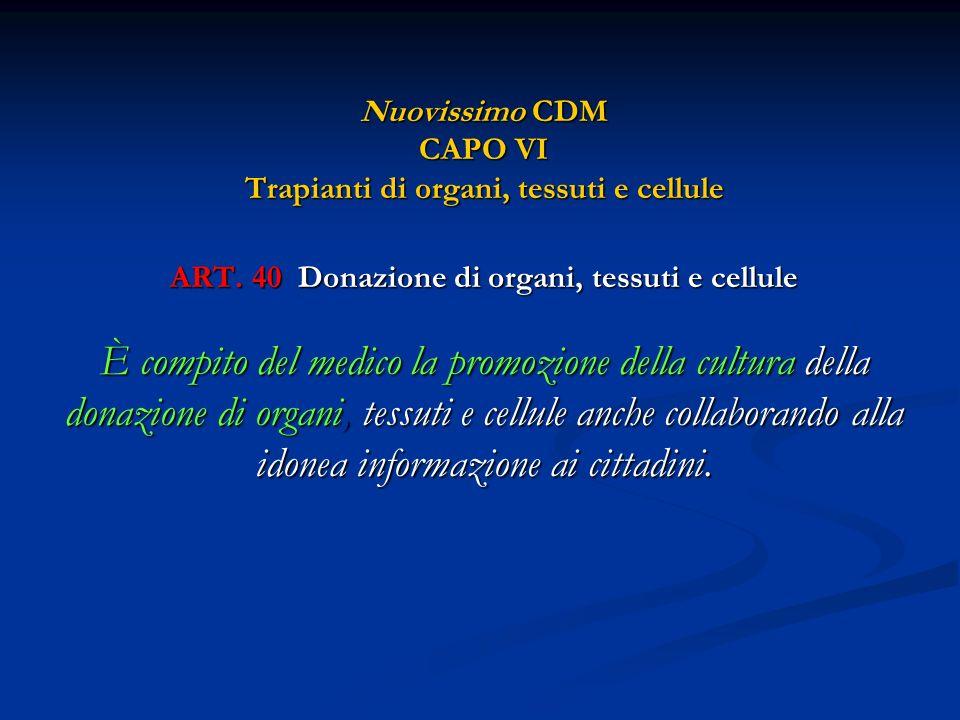 Nuovissimo CDM CAPO VI Trapianti di organi, tessuti e cellule ART