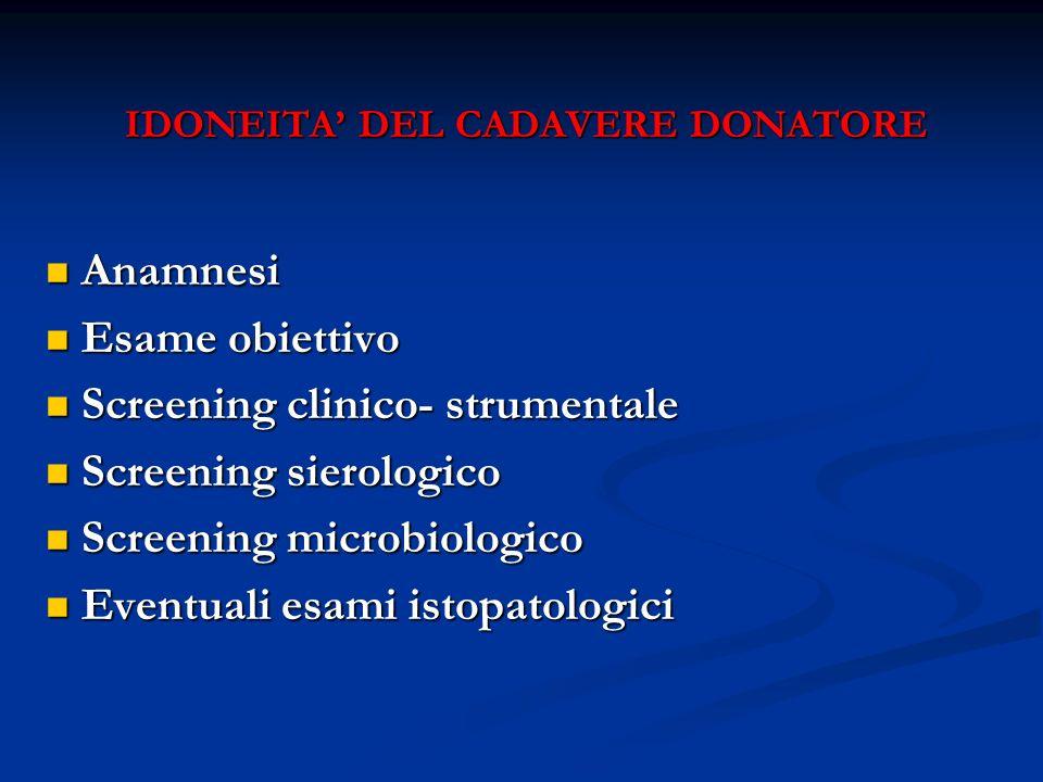 IDONEITA' DEL CADAVERE DONATORE