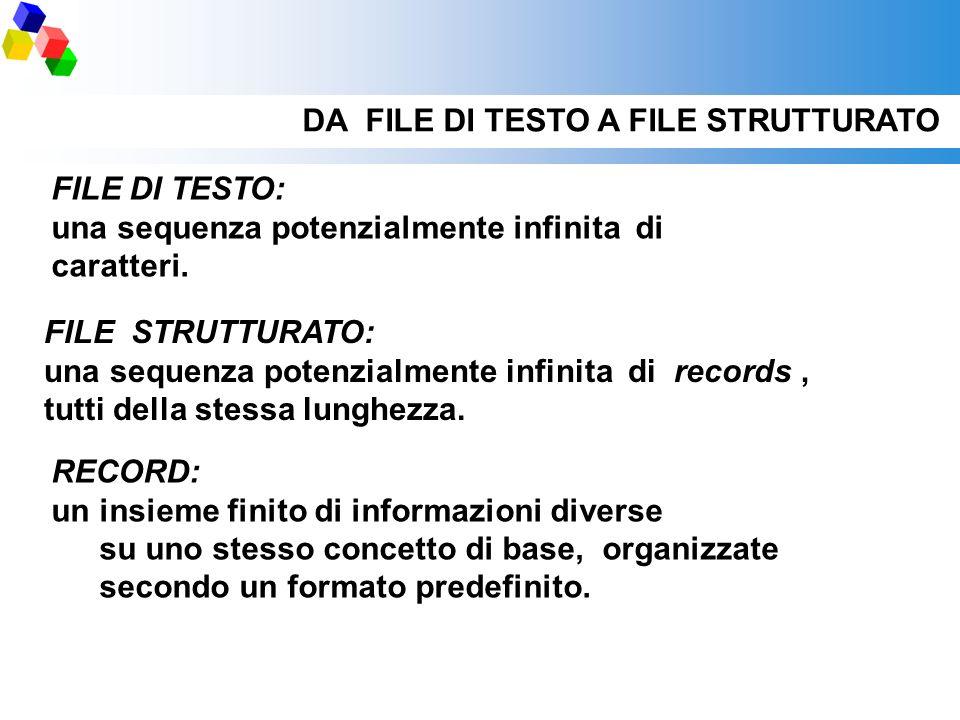 DA FILE DI TESTO A FILE STRUTTURATO