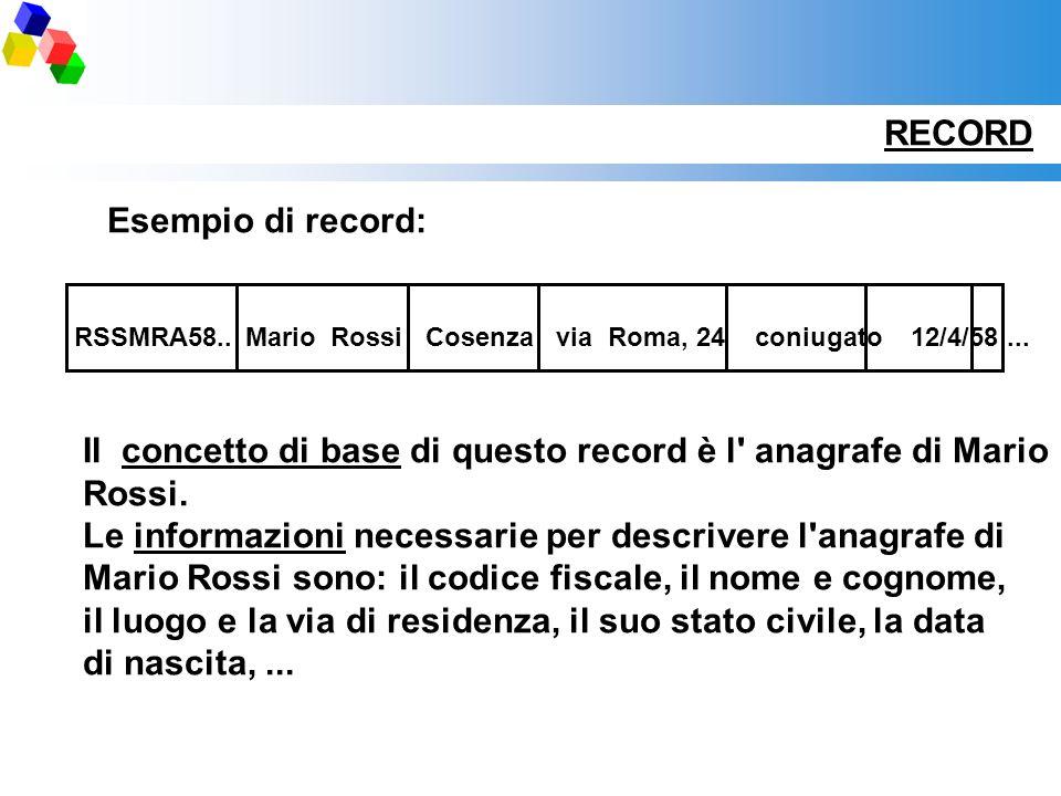 Il concetto di base di questo record è l anagrafe di Mario Rossi.
