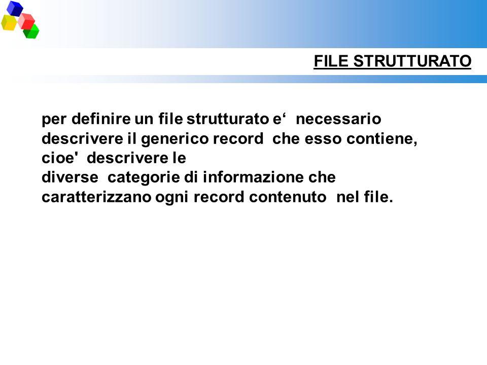 FILE STRUTTURATO per definire un file strutturato e' necessario descrivere il generico record che esso contiene, cioe descrivere le.