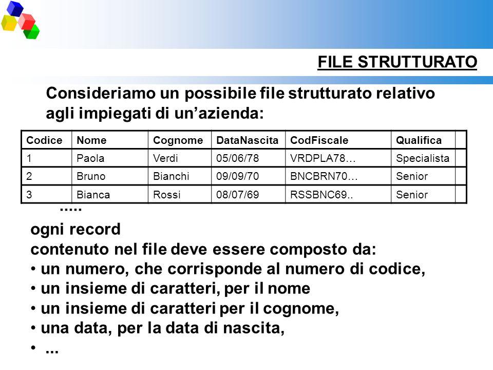 Consideriamo un possibile file strutturato relativo