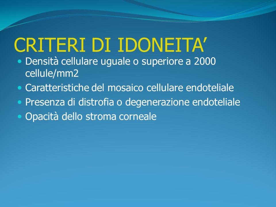 CRITERI DI IDONEITA' Densità cellulare uguale o superiore a 2000 cellule/mm2. Caratteristiche del mosaico cellulare endoteliale.