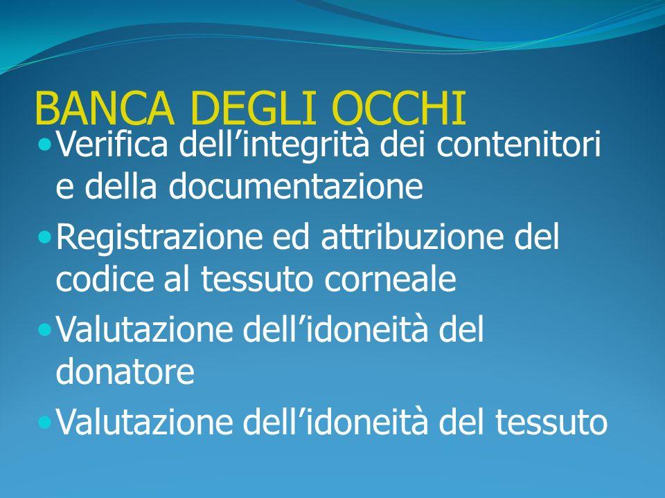 BANCA DEGLI OCCHI Verifica dell'integrità dei contenitori e della documentazione. Registrazione ed attribuzione del codice al tessuto corneale.