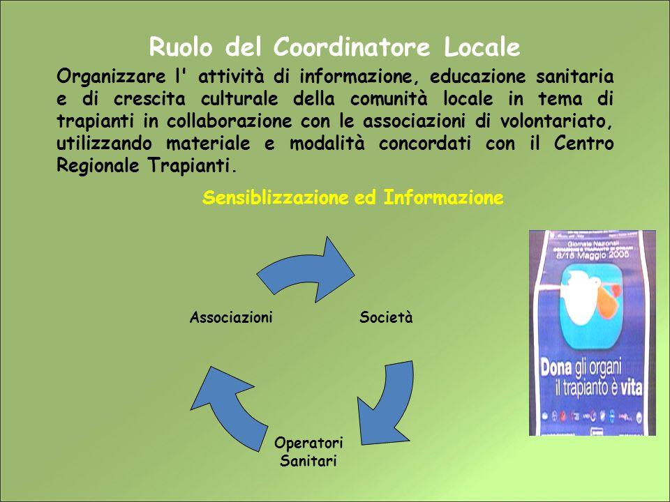 Ruolo del Coordinatore Locale Sensiblizzazione ed Informazione