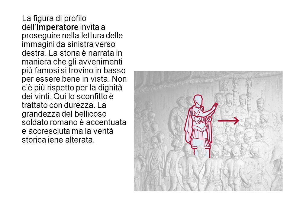 La figura di profilo dell'imperatore invita a proseguire nella lettura delle immagini da sinistra verso destra.