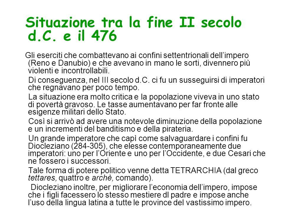 Situazione tra la fine II secolo d.C. e il 476