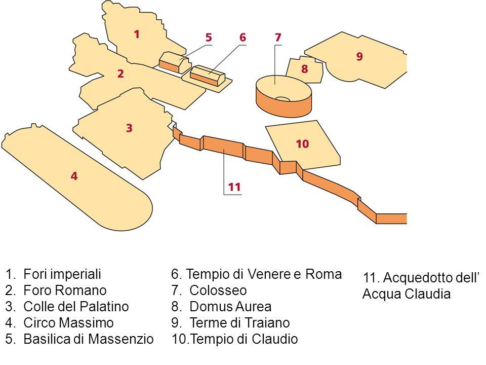 Fori imperiali Foro Romano. Colle del Palatino. Circo Massimo. Basilica di Massenzio. 6. Tempio di Venere e Roma.