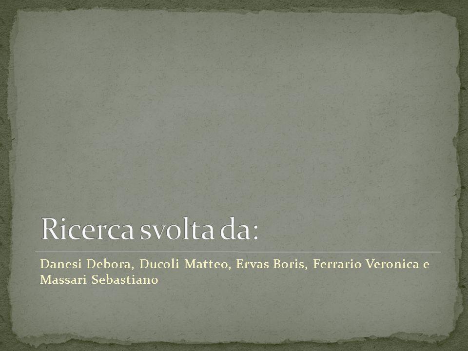 Ricerca svolta da: Danesi Debora, Ducoli Matteo, Ervas Boris, Ferrario Veronica e Massari Sebastiano.