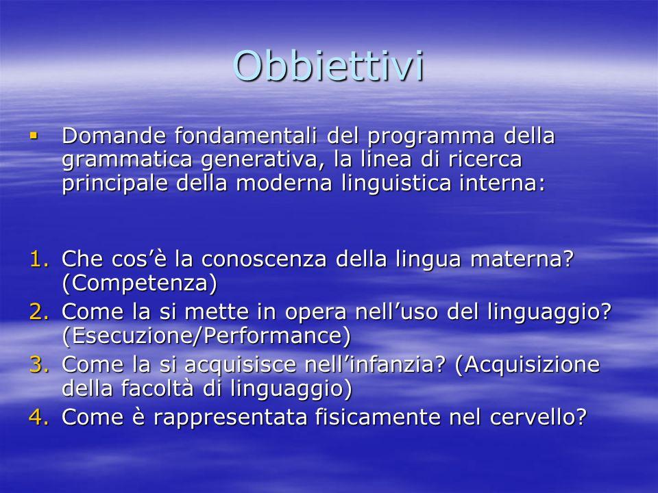 Obbiettivi Domande fondamentali del programma della grammatica generativa, la linea di ricerca principale della moderna linguistica interna:
