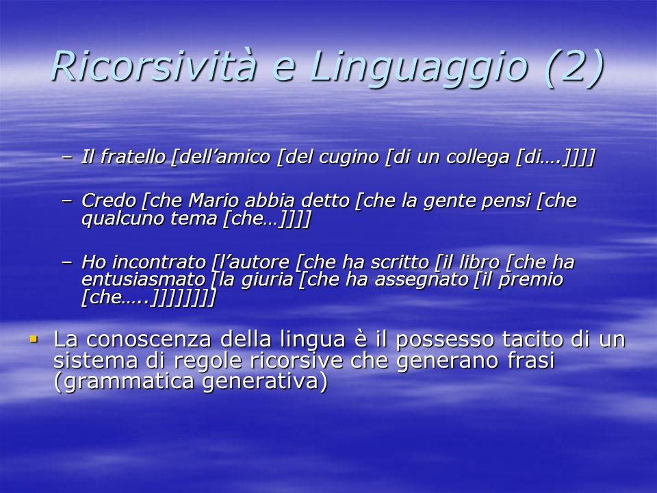 Ricorsività e Linguaggio (2)