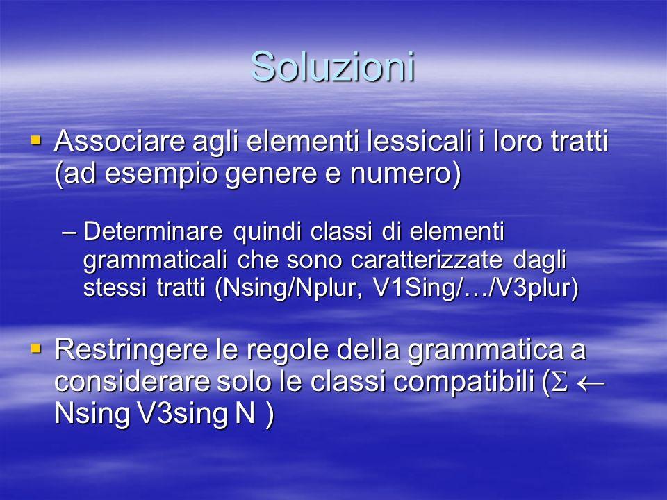 Soluzioni Associare agli elementi lessicali i loro tratti (ad esempio genere e numero)