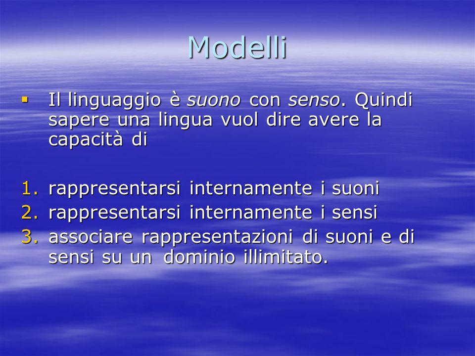 Modelli Il linguaggio è suono con senso. Quindi sapere una lingua vuol dire avere la capacità di. rappresentarsi internamente i suoni.