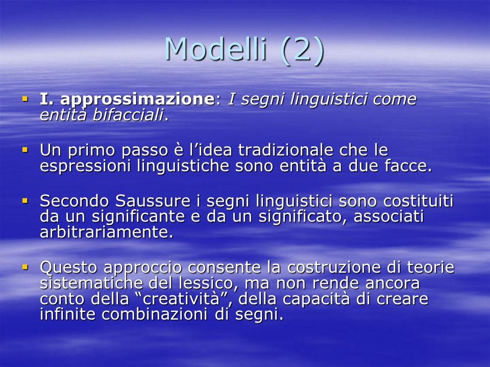 Modelli (2) I. approssimazione: I segni linguistici come entità bifacciali.