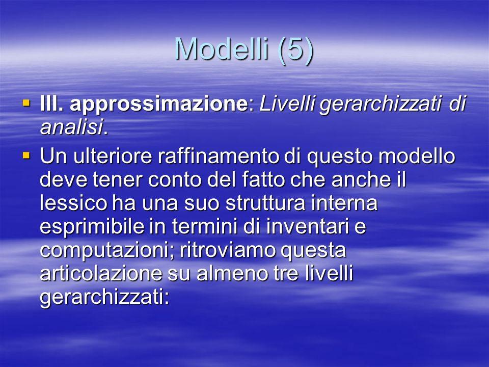 Modelli (5) III. approssimazione: Livelli gerarchizzati di analisi.