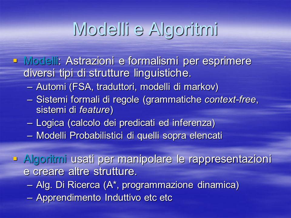 Modelli e Algoritmi Modelli: Astrazioni e formalismi per esprimere diversi tipi di strutture linguistiche.
