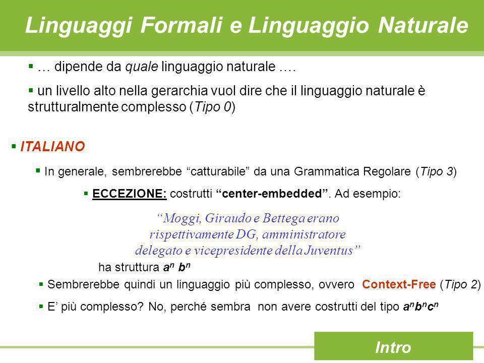 Linguaggi Formali e Linguaggio Naturale