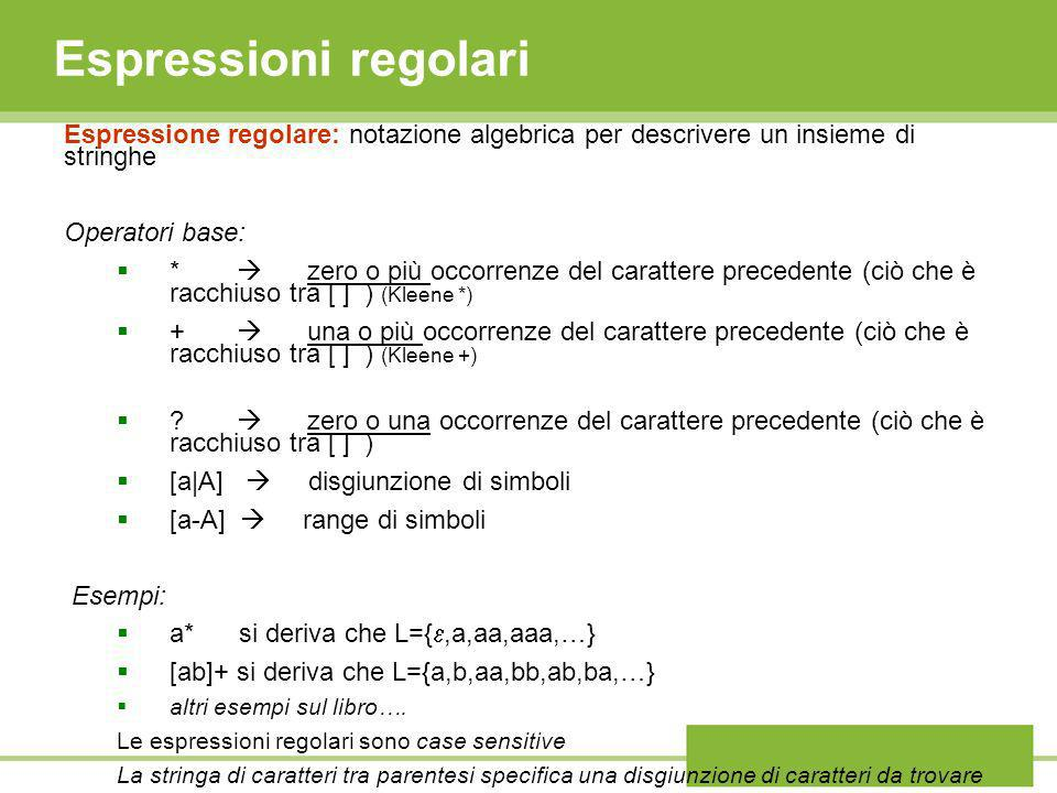 Espressioni regolari Espressione regolare: notazione algebrica per descrivere un insieme di stringhe.