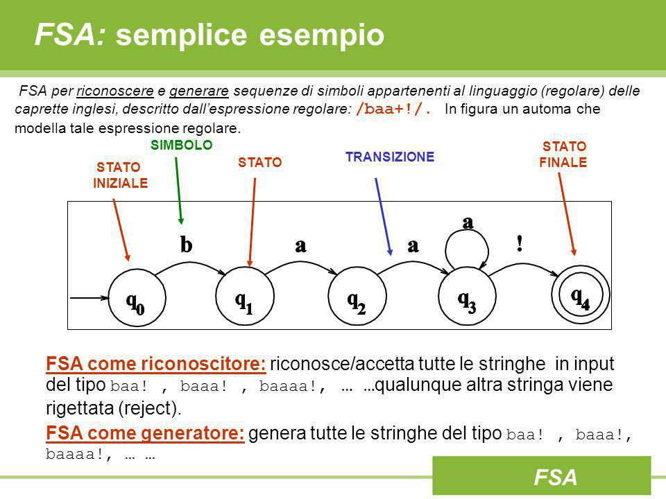 FSA: semplice esempio FSA