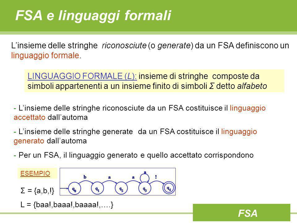 FSA e linguaggi formali