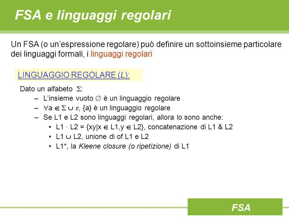 FSA e linguaggi regolari