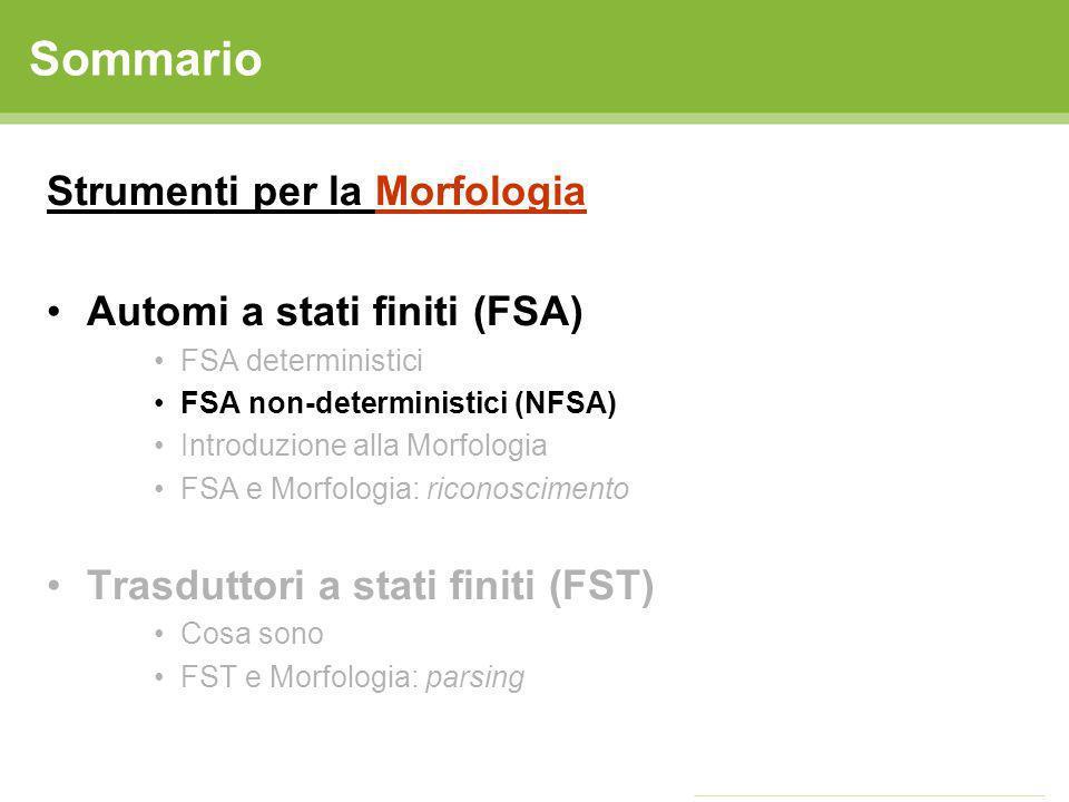Sommario Strumenti per la Morfologia Automi a stati finiti (FSA)