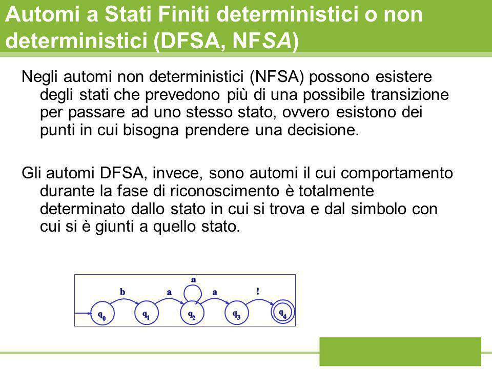 Automi a Stati Finiti deterministici o non deterministici (DFSA, NFSA)
