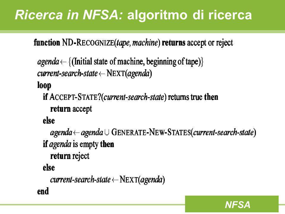Ricerca in NFSA: algoritmo di ricerca