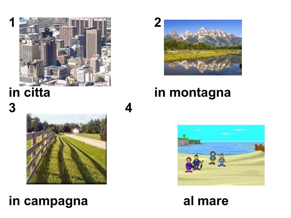 1 2 in citta in montagna 3 4 in campagna al mare