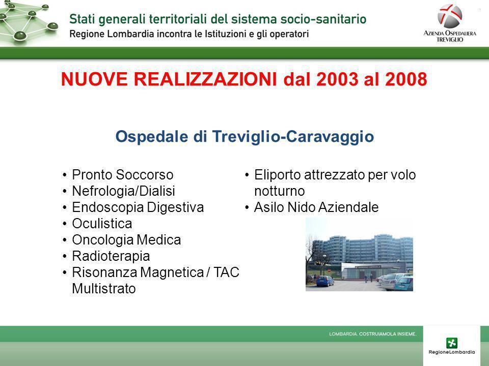 NUOVE REALIZZAZIONI dal 2003 al 2008 Ospedale di Treviglio-Caravaggio
