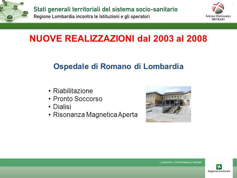NUOVE REALIZZAZIONI dal 2003 al 2008 Ospedale di Romano di Lombardia