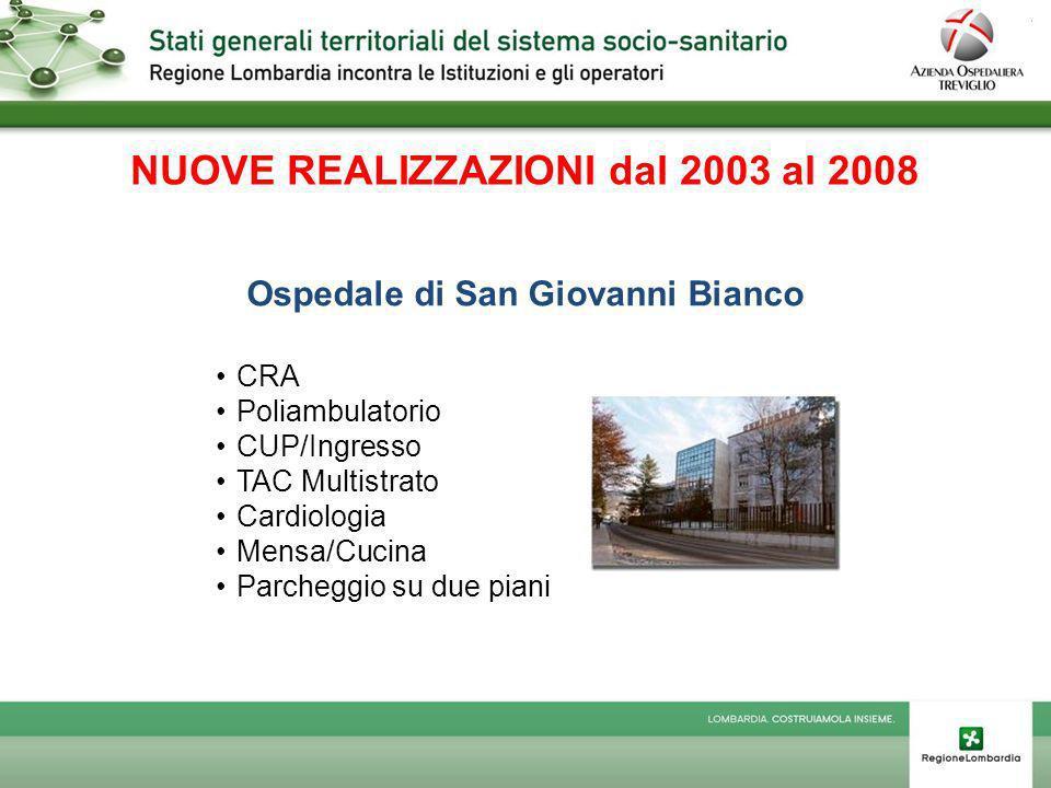 NUOVE REALIZZAZIONI dal 2003 al 2008 Ospedale di San Giovanni Bianco