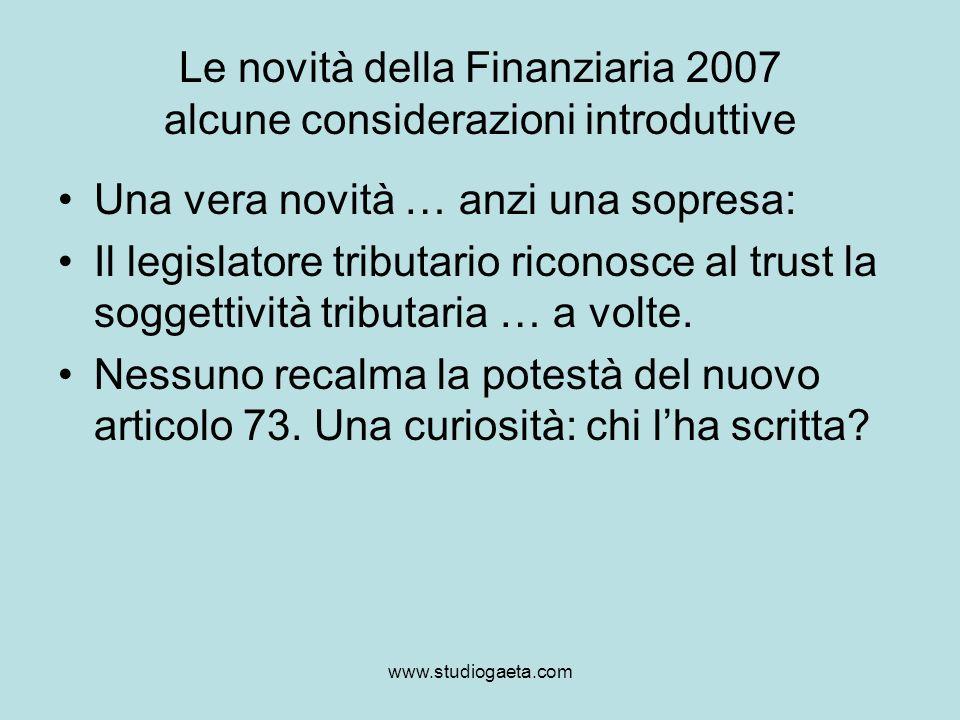 Le novità della Finanziaria 2007 alcune considerazioni introduttive