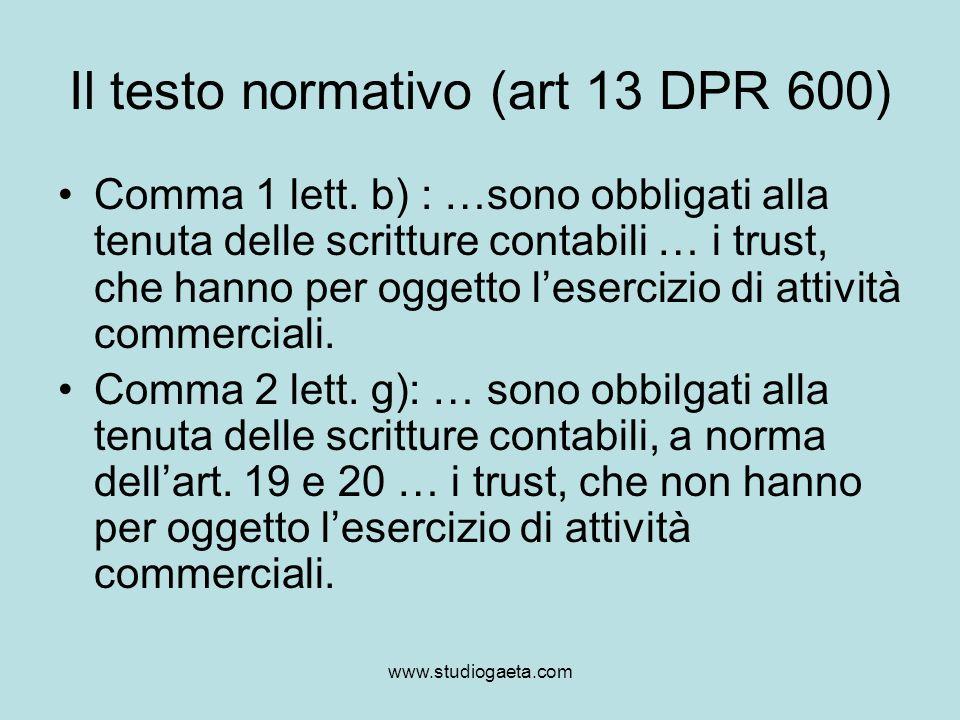 Il testo normativo (art 13 DPR 600)